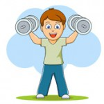 boy exercises with dumbell clipart